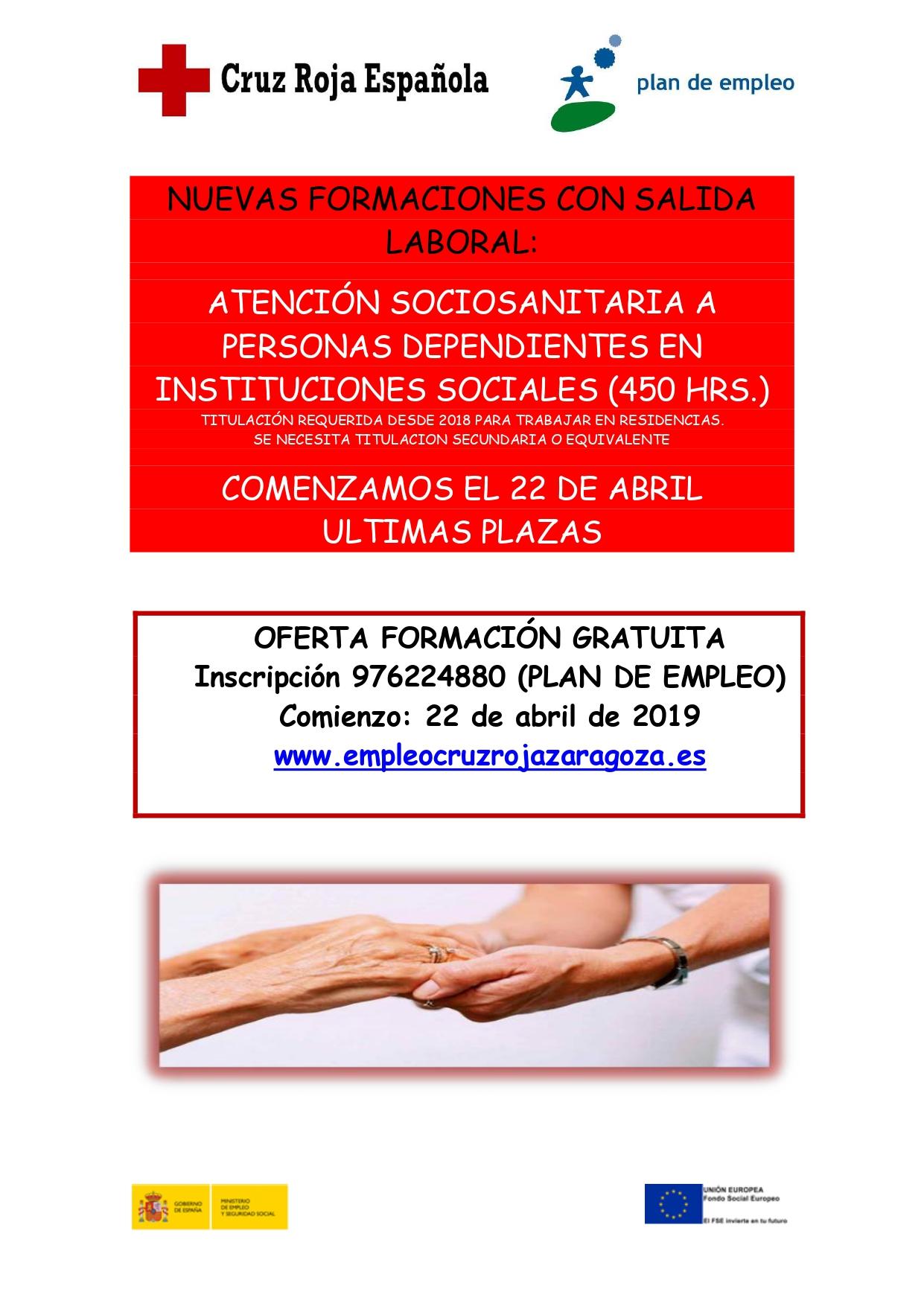 Últimas plazas para realizar el Certificado de atención sociosanitaria a personas dependientes en instituciones.